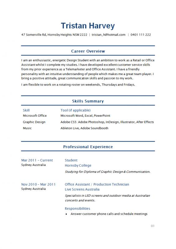 Example Student Resume Template Business