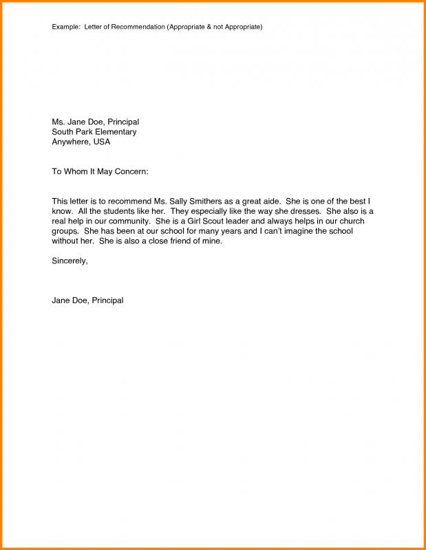 Examples Of Reference Letters Template Business