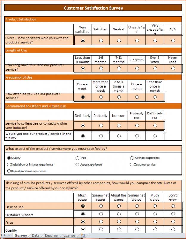 Excel Survey Template Template Business