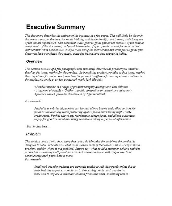 Executive Summary Outline Examples Format Waiter Resume Examples - sample business summary template