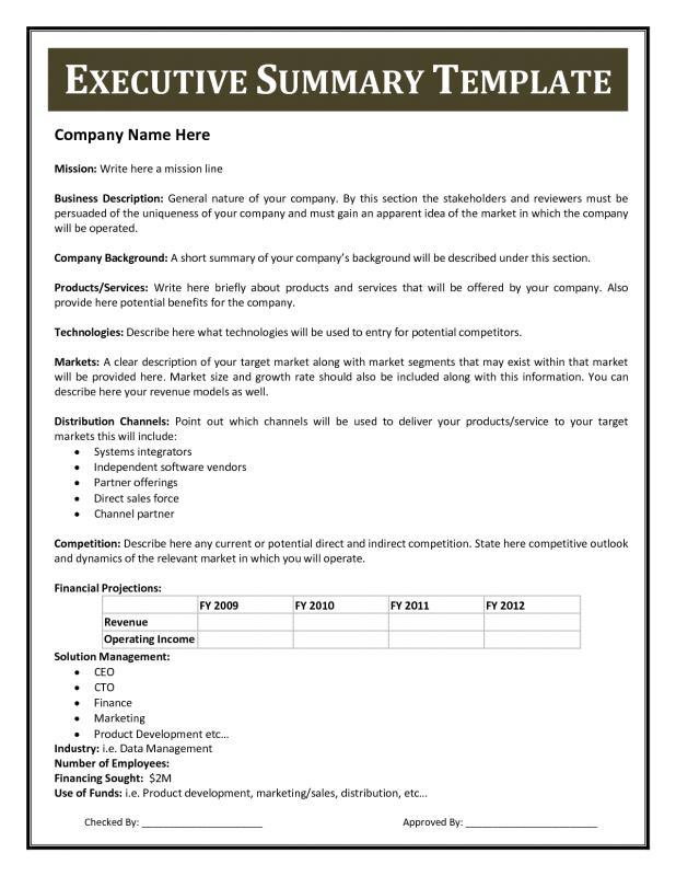 Executive Summary Sample Template Business