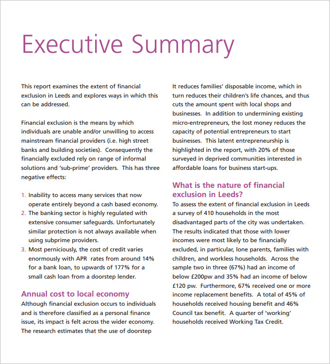 executive summary sample pdf - Hizlirapidlaunch - business summary template
