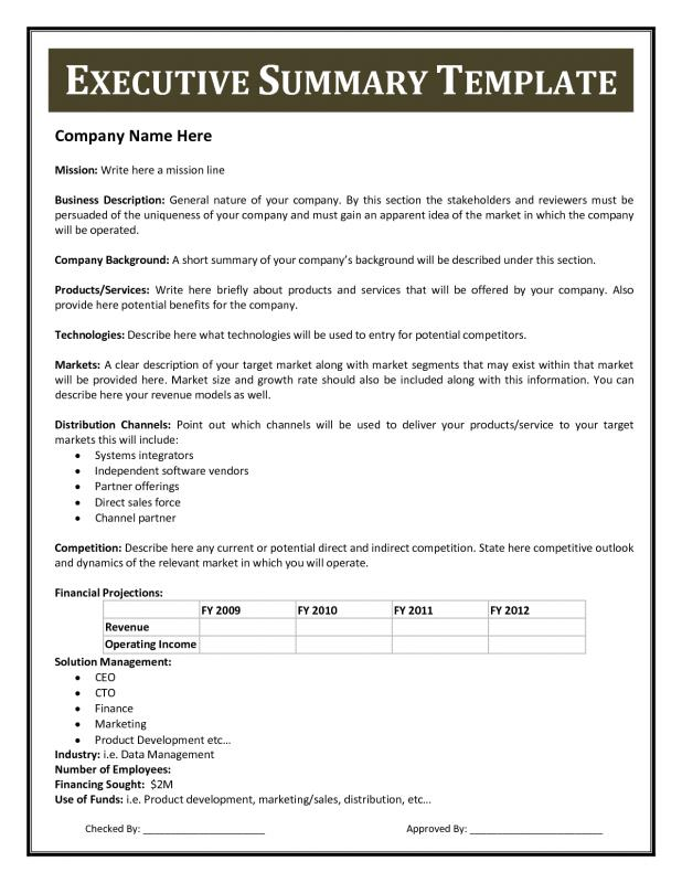 Executive Summary Template Template Business - management summary template