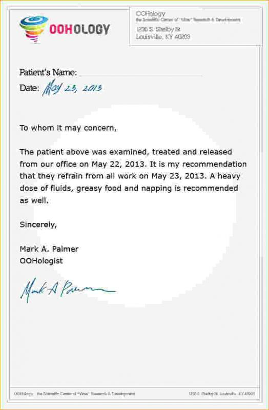 Fake Doctors Note For Work Template Business - doctor note example