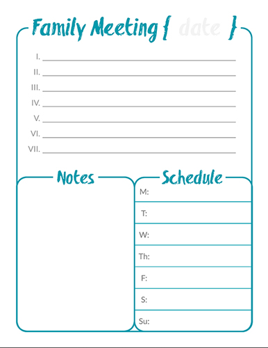 Family Meeting Agenda Template Business
