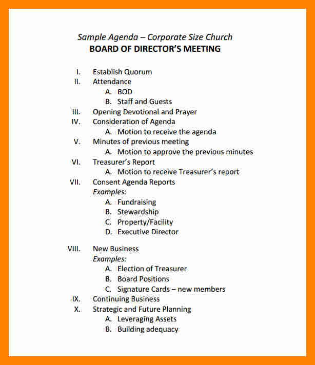 sample of agenda for meeting - Intoanysearch