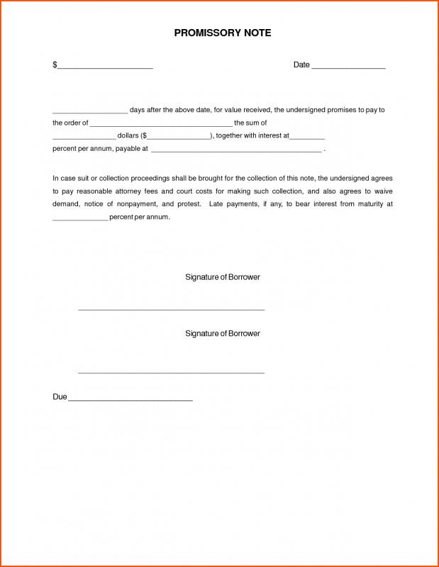 Fill In The Blank Promissory Note Template Business