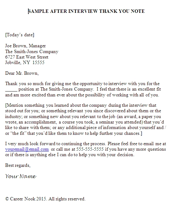 Follow Up Email After Interview Template Business