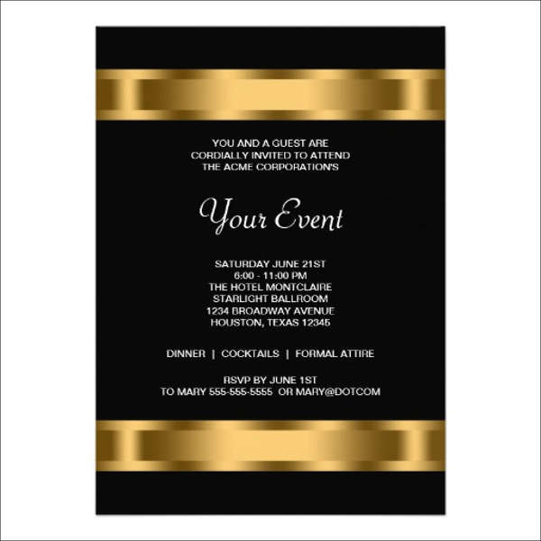 Formal Invite Templates Template Business