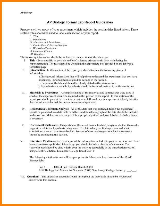 Formal Lab Report Template Template Business