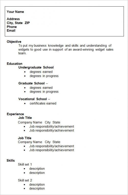 Formats For A Resume Template Business - formats for a resume
