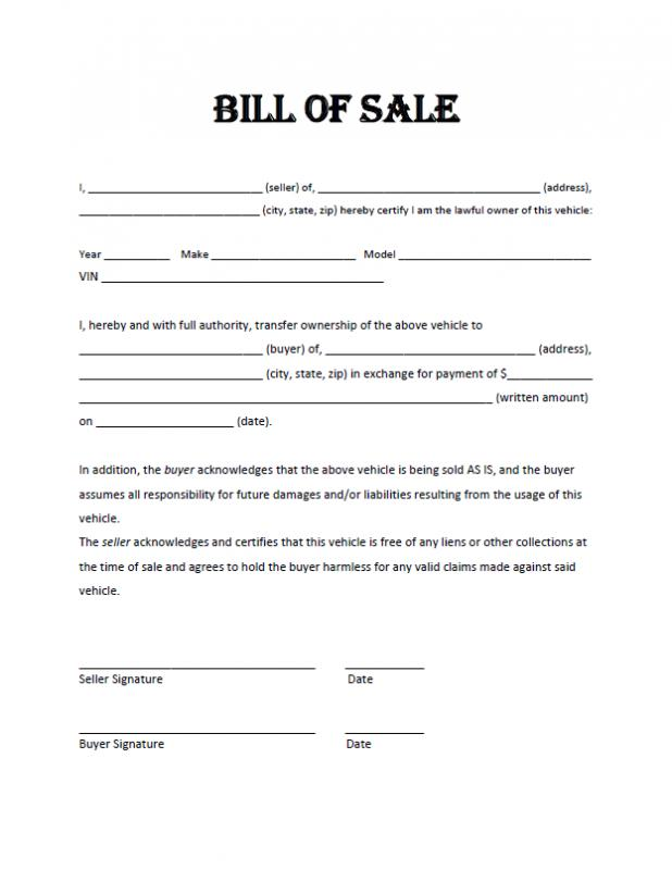 vehicle bill of sale form car bill of sale pdf template free auto - free printable bill of sale for motorcycle