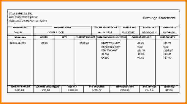 Free Check Stub Template Printables Template Business - paycheck stub creator free