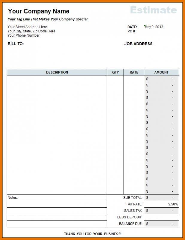 Free Construction Estimate Template Excel Template Business