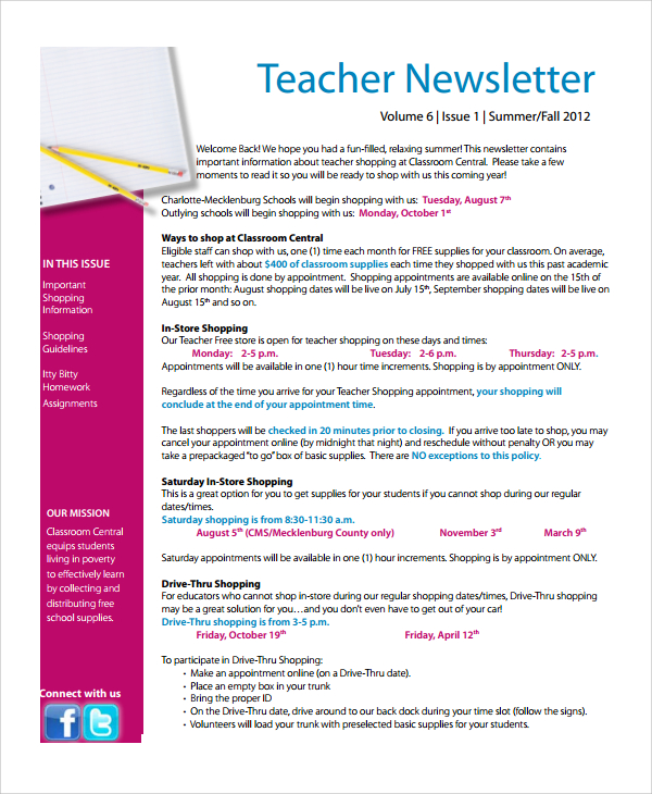 Free Editable Newsletter Templates For Teachers Template Business
