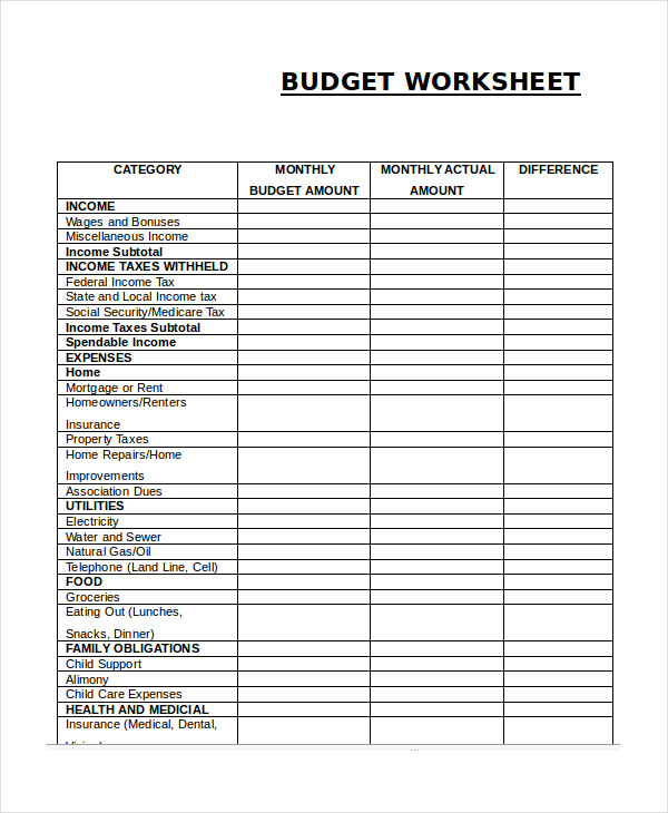 Free Household Budget Worksheet Template Business