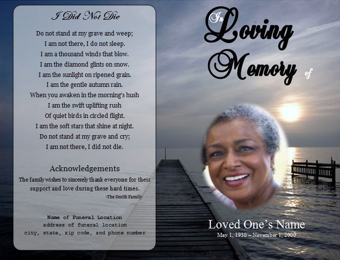 Free Obituary Program Template Download Template Business