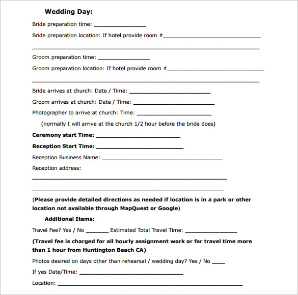 Free Photography Contract Template Business