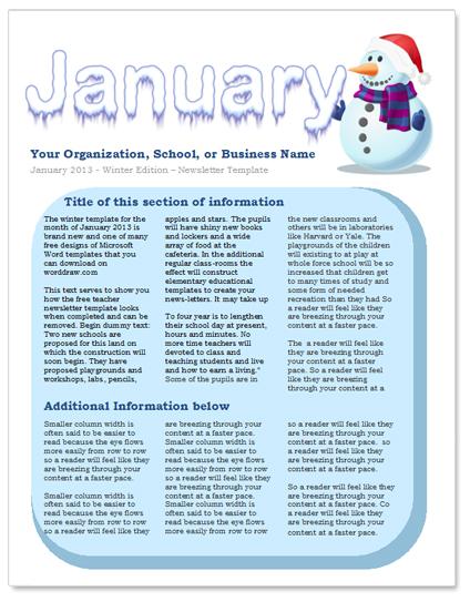 Free Preschool Newsletter Templates Template Business - preschool newsletter template
