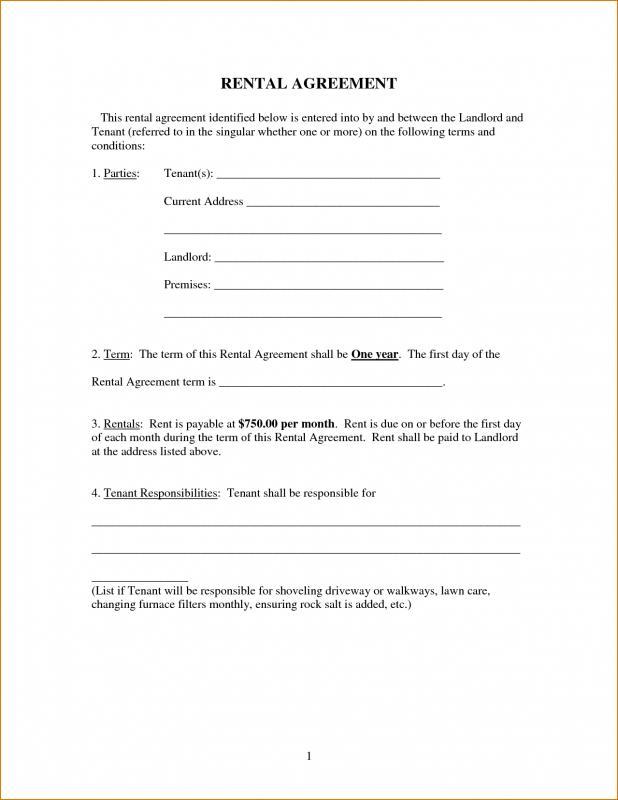 Free Printable Basic Rental Agreement Template Business