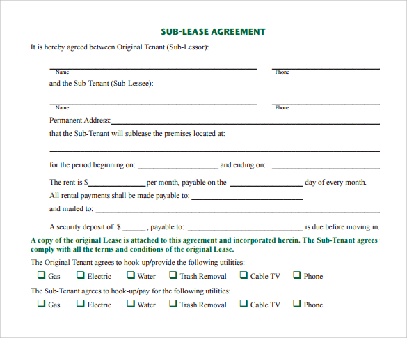 Sublet Agreement Template Gallery - Template Design Ideas - basic sublet agreement