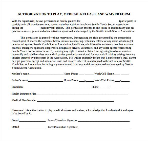 Sample Medical Release Form - Resume Template Ideas - printable medical release form for children