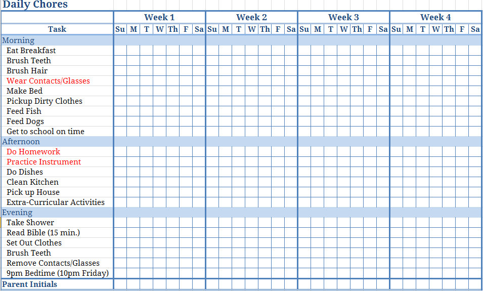 Free Printable Chore Chart Templates Template Business
