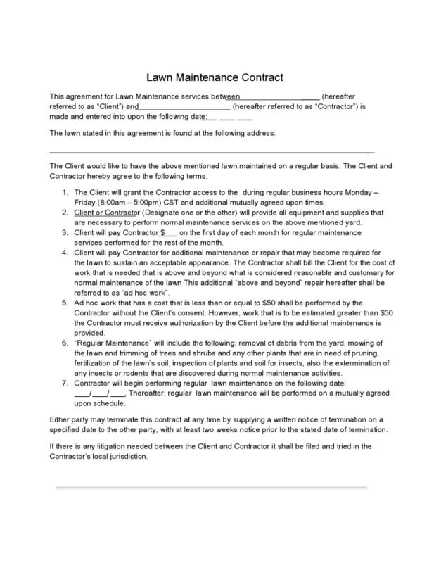 Free Printable Construction Contracts Template Business - free construction contracts