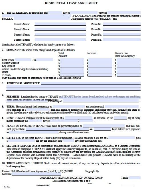 free printable residential lease agreement - Josemulinohouse