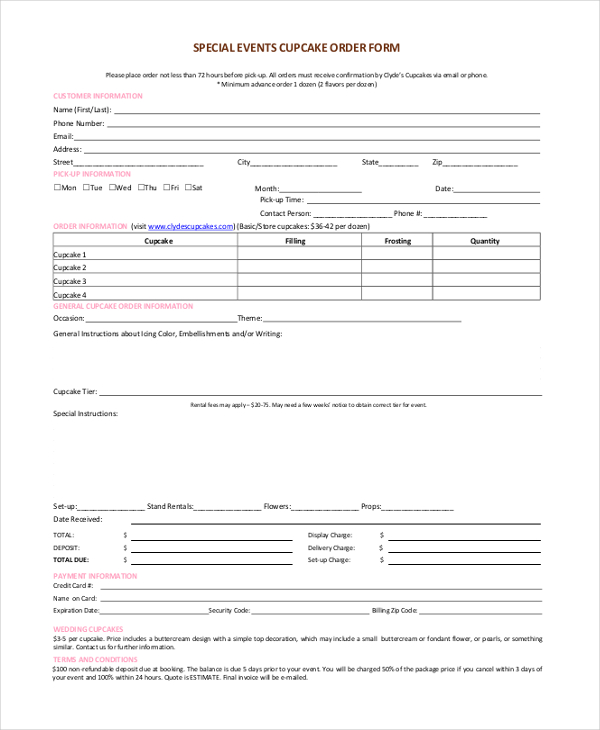 Free Printable Order Forms Template Business