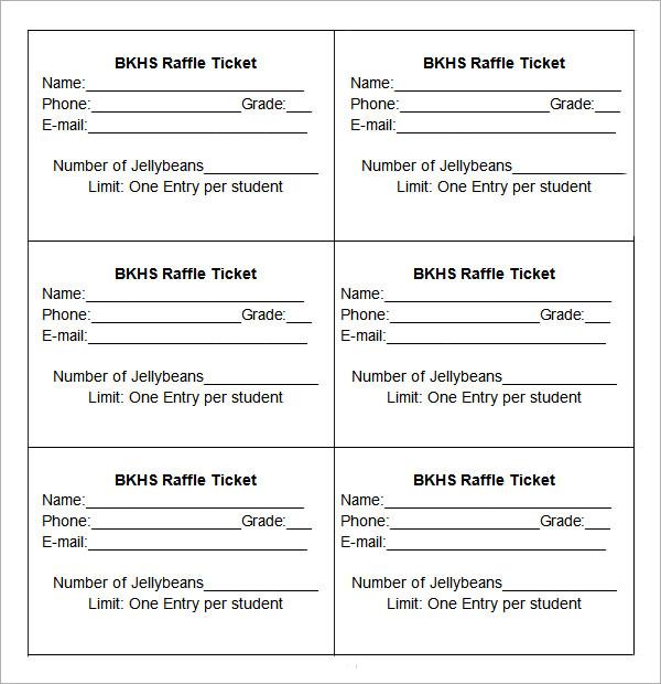 Free Printable Raffle Tickets Template Business - free ticket template printable
