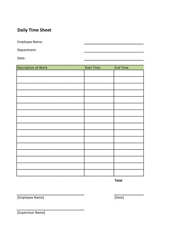 Free Printable Time Sheets Template Business
