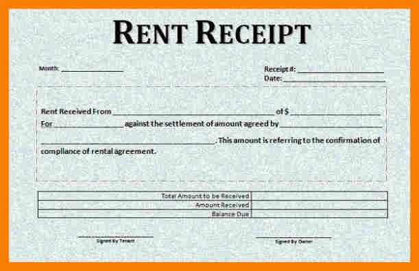Free Rent Receipt Template Business