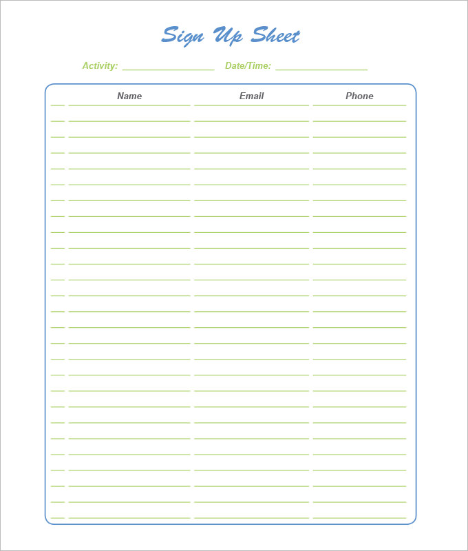 sign up sheet template with name email and phone number - Alan - phone sheet template