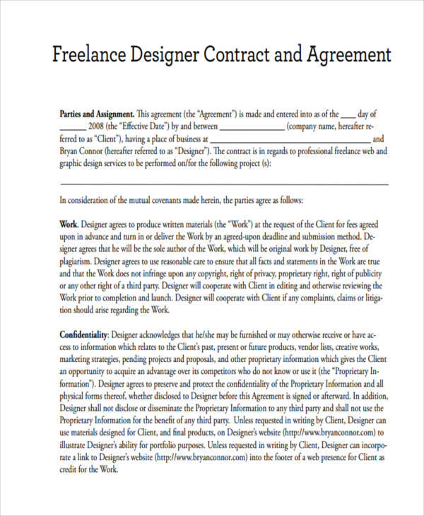Freelance Graphic Design Contract Template Pdf Template Business