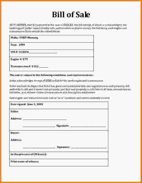 form of bill of sale - Goalgoodwinmetals - bill of sales forms