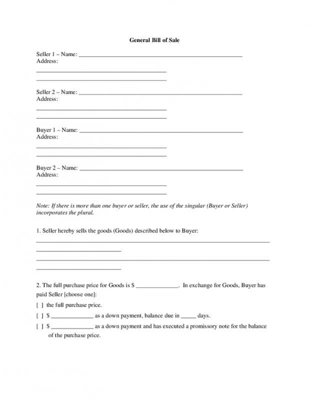Generic Bill Of Sale Form Template Business