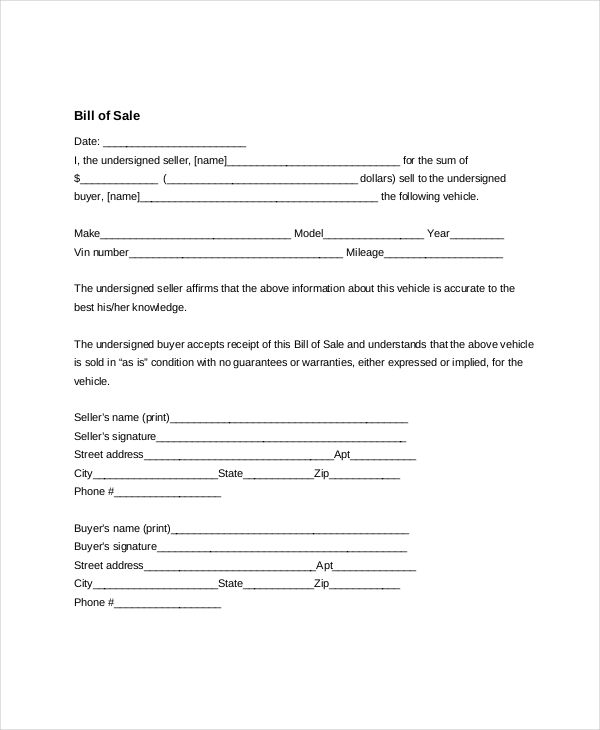 Generic Bill Of Sale Form Template Business - bill of sale generic