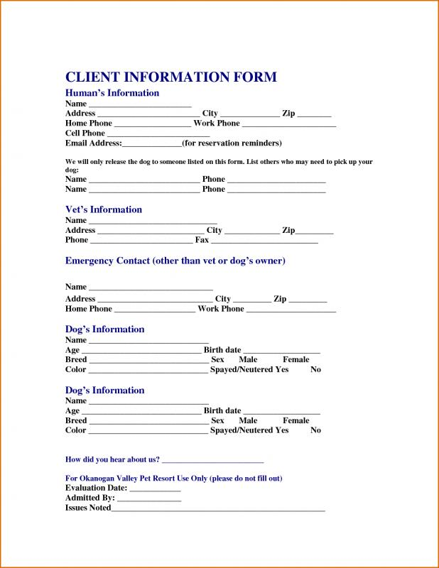 Generic Car Bill Of Sale Template Business - client information form template