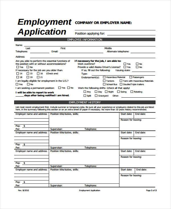 Generic Job Application Form Template Business - Generic Application For Employment