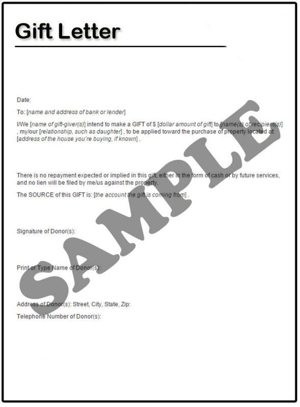 Gift Letter Template Template Business - gift letter