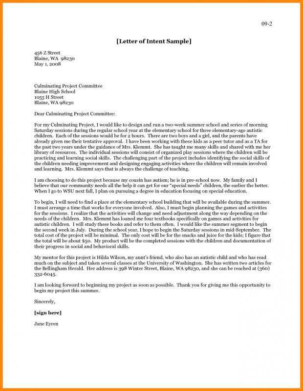 Graduate School Letter Of Intent Template Business - letter of intent for university