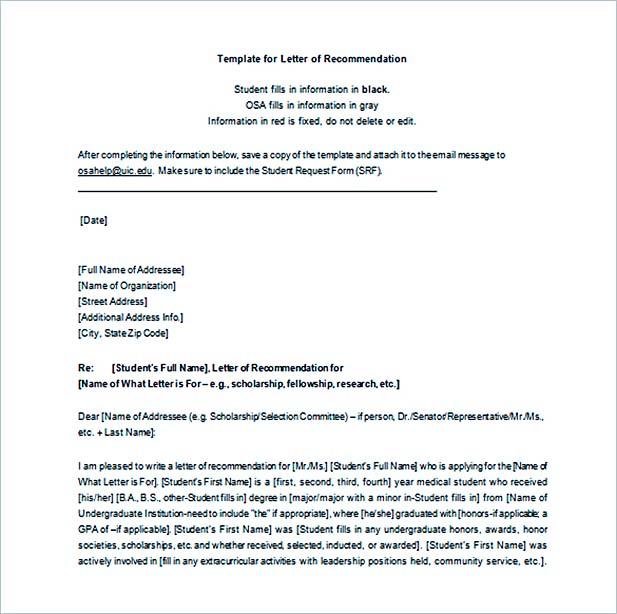 Graduate School Recommendation Letter Template Business - letter of recommendation template word