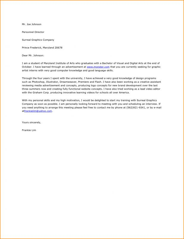 Graphic Design Cover Letter Template Business