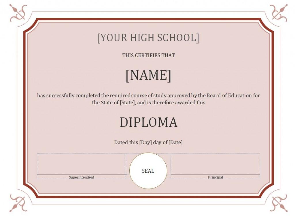 High School Diploma Template Template Business
