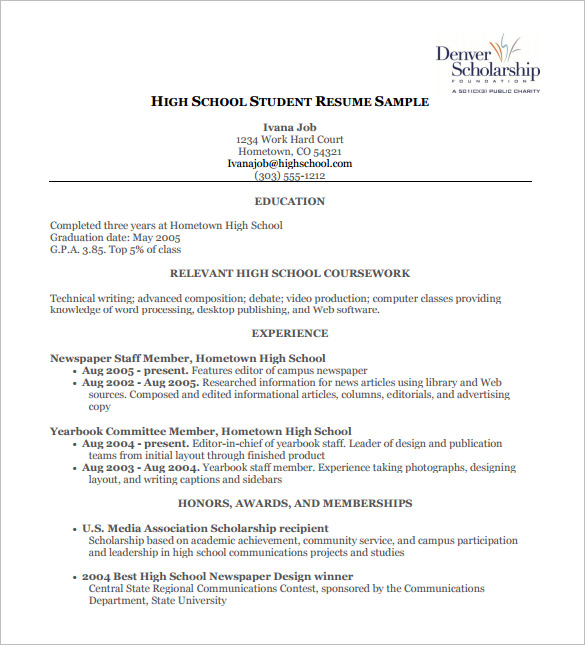 Hs Resumes Petitcomingoutpolyco Resume Template For High School