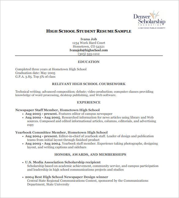 High School Resume Template Template Business