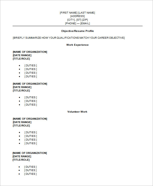 High School Student Resume Format Template Business