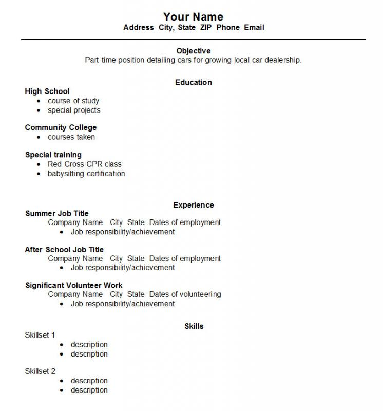 High School Student Resume Format Template Business - high school students resume