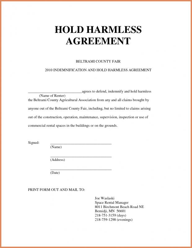 Hold Harmless Agreement Sample Template Business